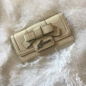 2/$15 Guess faux crocodile skin wallet w/bow